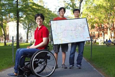 Harvard students (from left) Kunho Kim, Brad Riew, and You-Myeong Kim and a fourth friend, Cynthia Cheung, a student at the University of Bath, England, will drive from Boston to Los Angeles along the route they have plotted in a wheelchair accessible van that Kunho can drive.